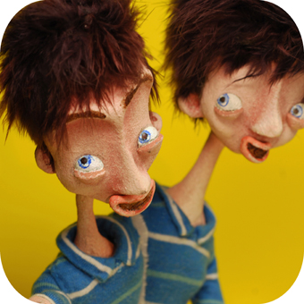 selfie Simon and Tim - Portfolio. Neil Hughes Puppet Illustration.