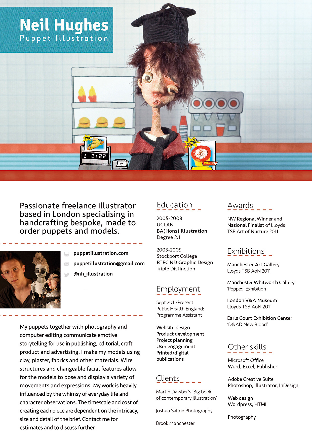 Neil Hughes Puppet Illustration Creative CV - Hidden Info